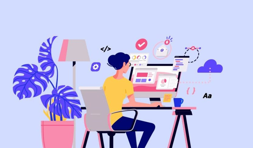 An illustration of a blogger sits at her desk and works.