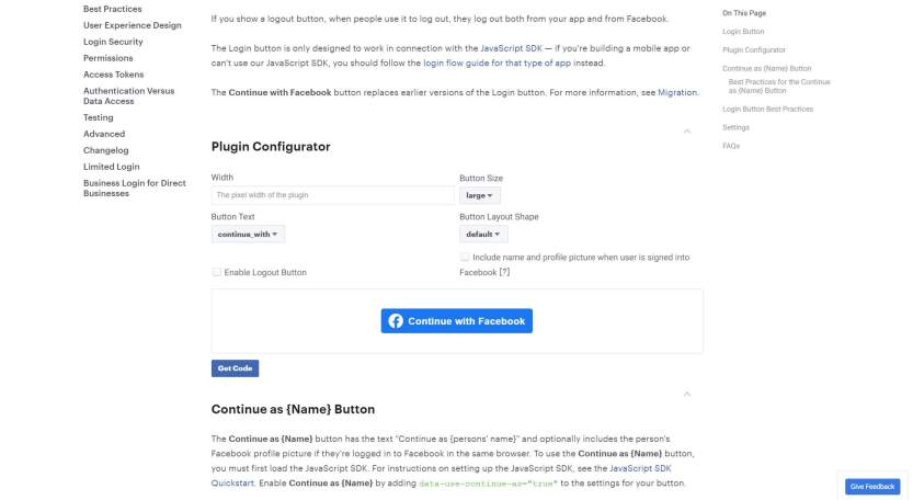 The configuration editor for the Facebook login button's appearance.