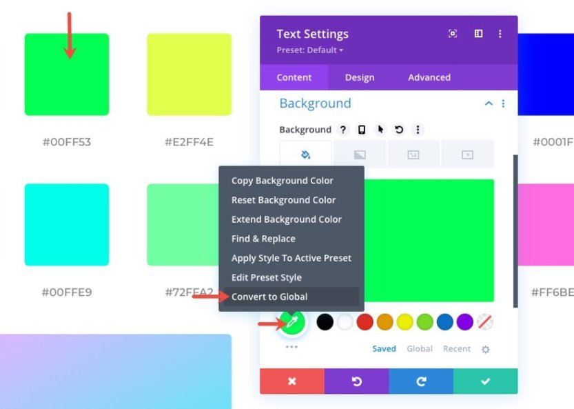 global presets style guide for divi's virtual fitness layout pack