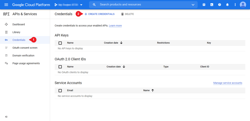 Setting up credentials for a Google Apps login.