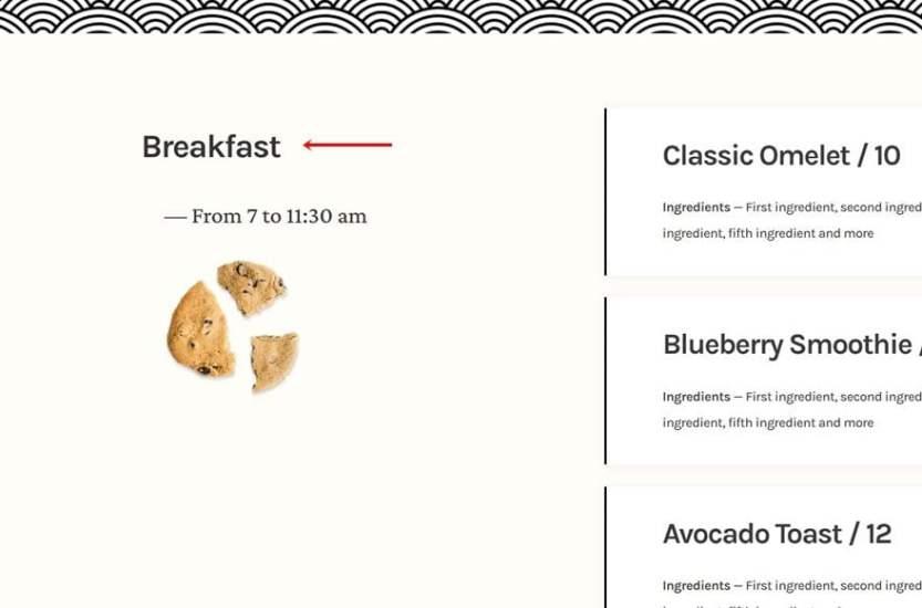 sticky restaurant menu
