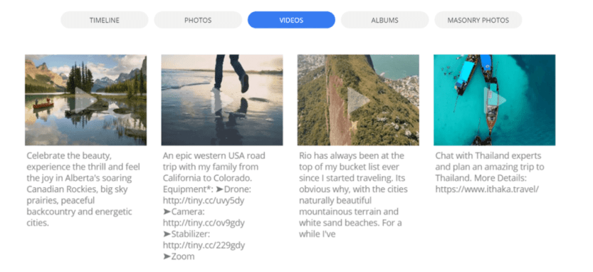 An example of a Facebook feed in WordPress