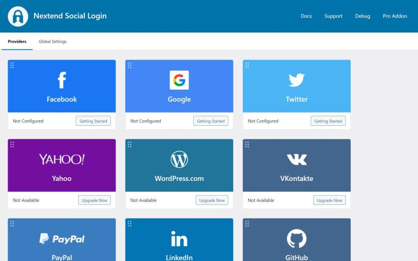The Nextend settings panel in the WordPress dashboard.