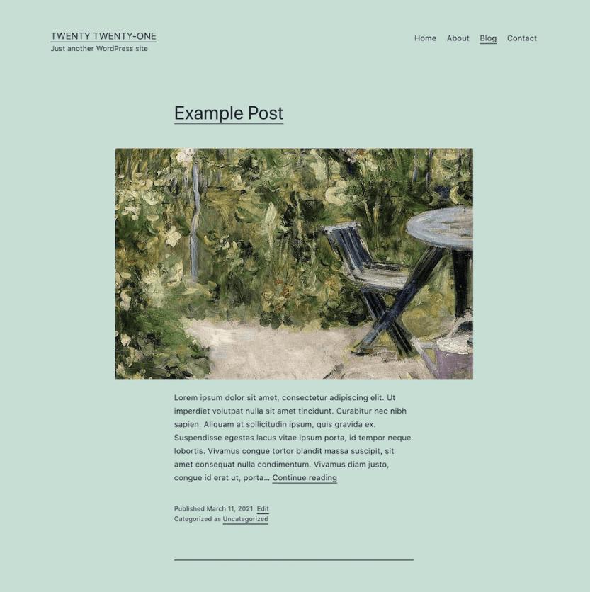 The Twenty Twenty-One blog page.