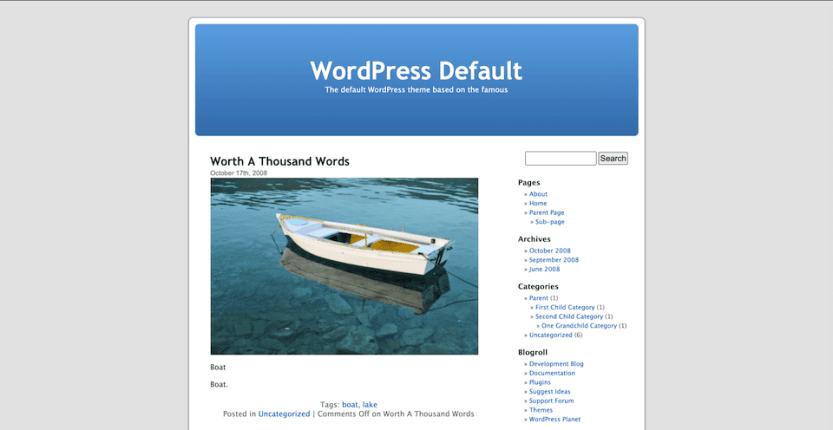 The WordPress Default Kubrick theme.