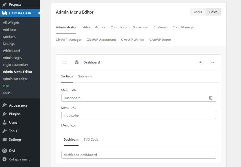 admin panel changes