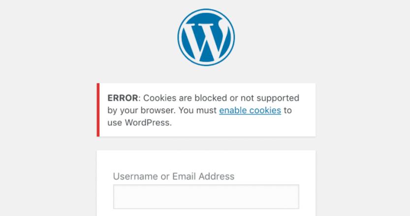 A WordPress login page cookie error.