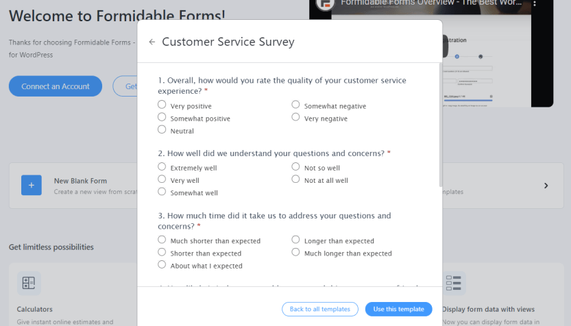A Formidable Forms survey template