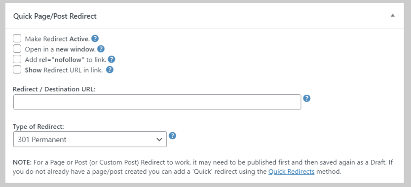 Configuring a redirect within the Block Editor