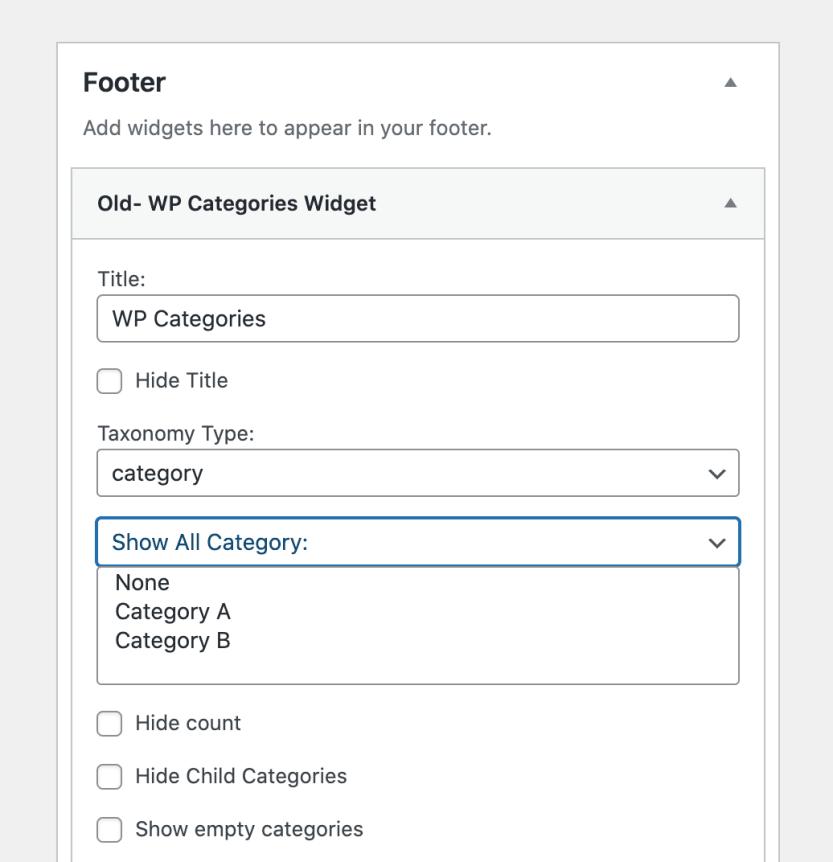 The WP Categories widget.