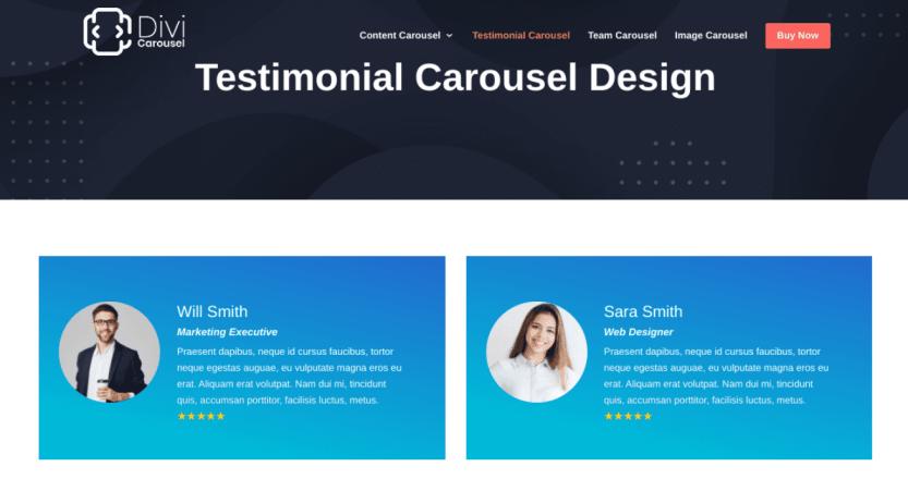 The Divi Testimonial Carousel extension.