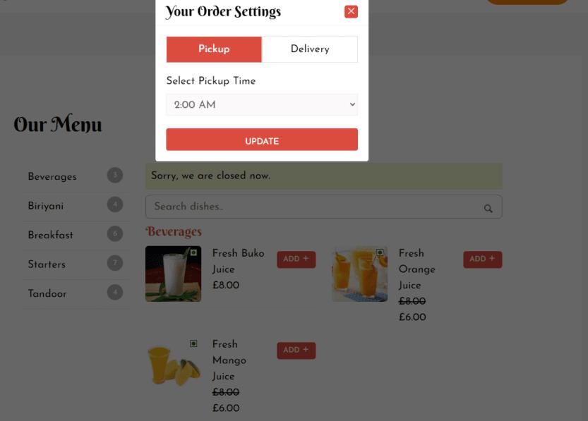 A restaurant menu created using the Food Store plugin