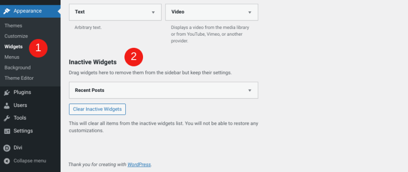 The inactive widgets section of WordPress.