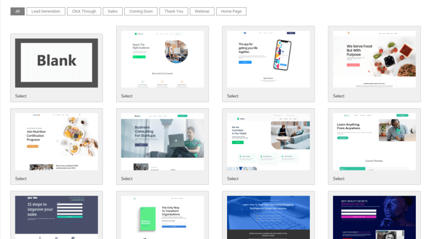 The template selection of the Landing Page Builder plugin.