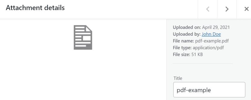 A PDF's attachment details window in WordPress