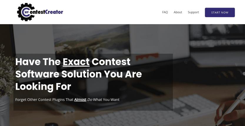 The WP Contest Creator plugin website.