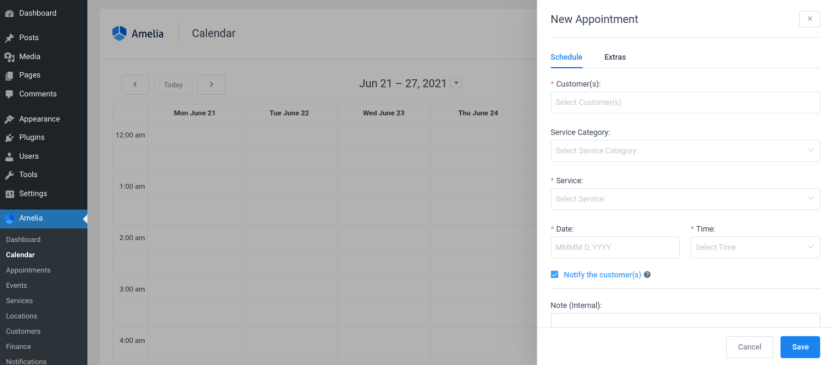 The back-end calendar view of the Amelia WordPress booking plugin.