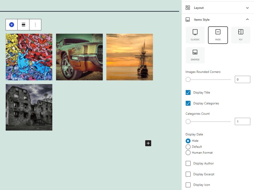 Customizing a portfolio block