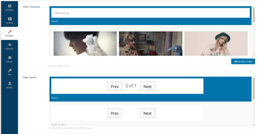 Configuring your video gallery's style