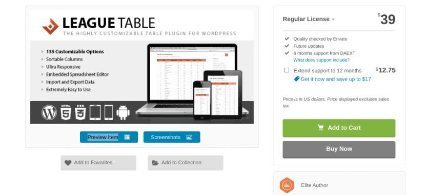 The League Table plugin.