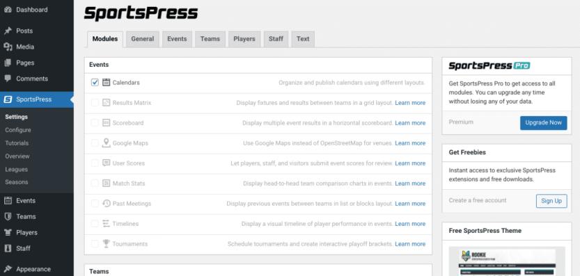 The SportsPress plugin settings.