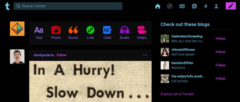 wordpress vs tumblr dashboard