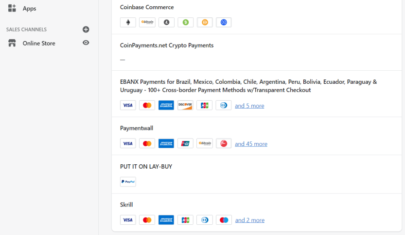 Configuring alternative payment methods in Shopify