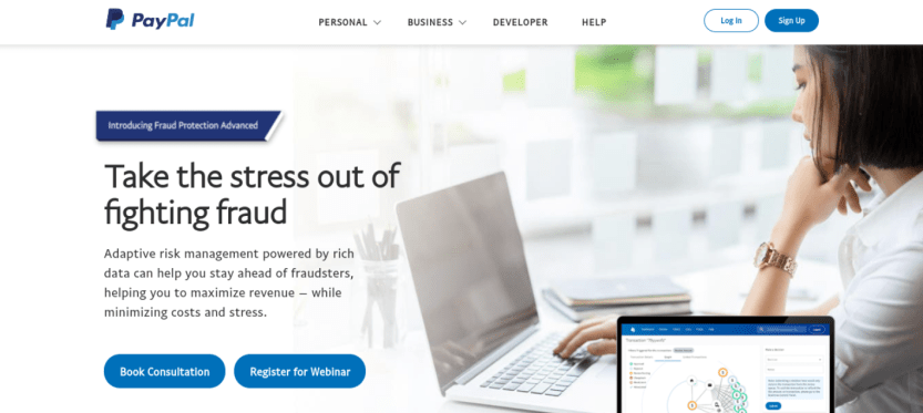 PayPal's Fraud Protection Advanced webpage.