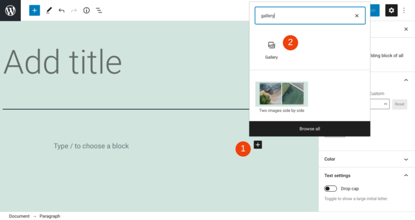 Adding a Gallery block in WordPress.