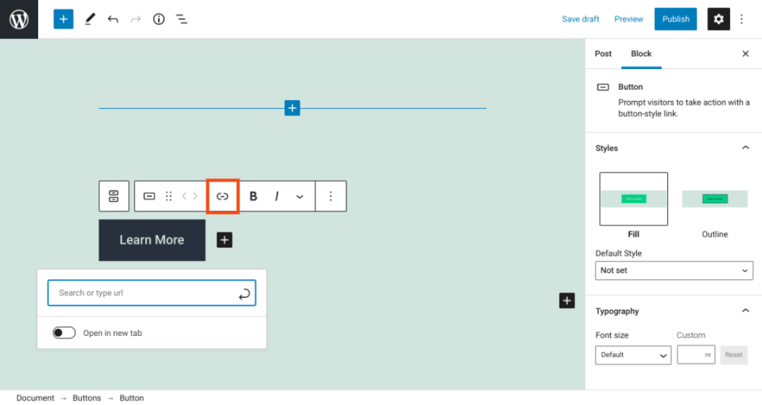 Linking a WordPress buttons block.
