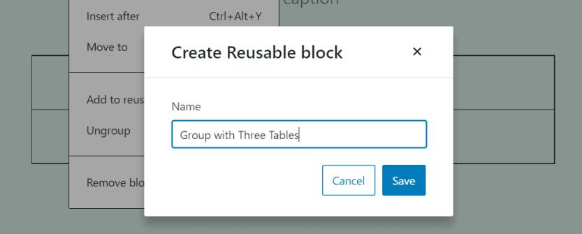 Creating a reusable block