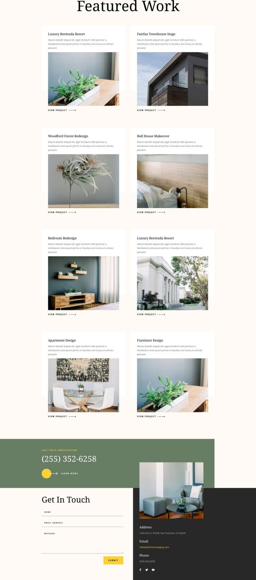 divi home staging layout pack