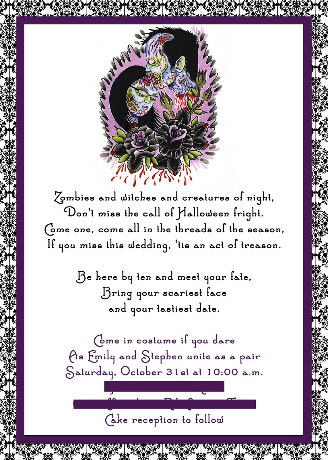 choosing halloween wedding invitations
