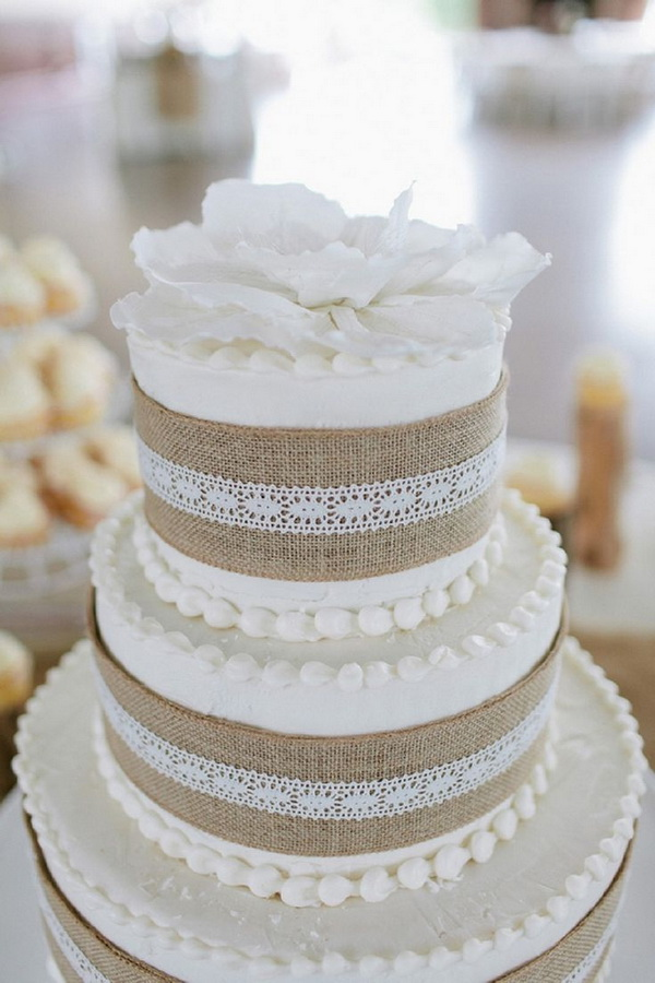 Rustic Burlap   Lace Wedding Decorations and Inspiration     rustic 2015 burlap lace wedding cake ideas