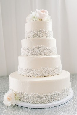 25 Fabulous Wedding Cake Ideas With Pearls     Elegantweddinginvites     elegant sugar pearl wedding cake ideas