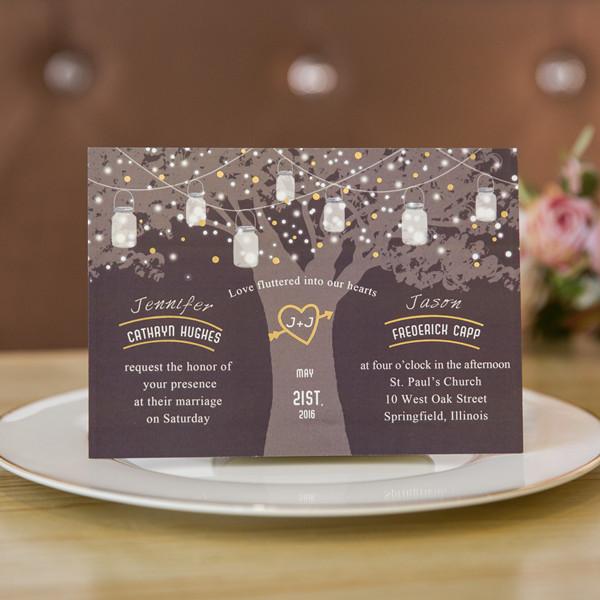 Love Tree Wedding Invitation With Stars