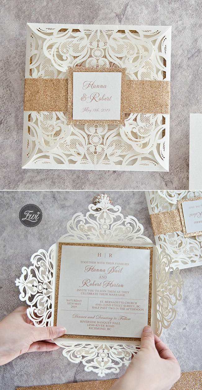 Laser Cut Pop Wedding Invitation