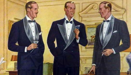 Gentlemen's tuxedo - da sinistra verso destra DB con collo a scialle e revers a punta, monopetto sciallato nero.