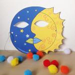 Maschera Sole e Luna da colorare e ritagliare