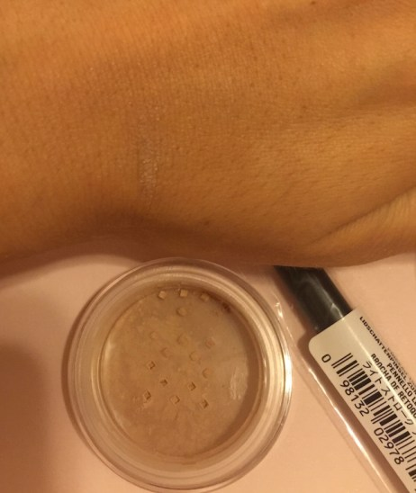bareminerals tan foundation swatch on NC40 skin