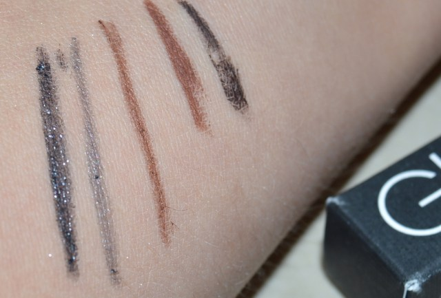 Glo & Ray review eyeliners swatches