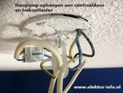 Hanglamp ophangen aan plafond centraaldoos en trekontlaster