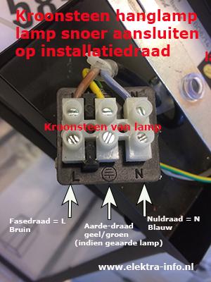 Geliefde Uitleg lamp aansluiten aan plafond of muur | Elektra-info.nl WG49