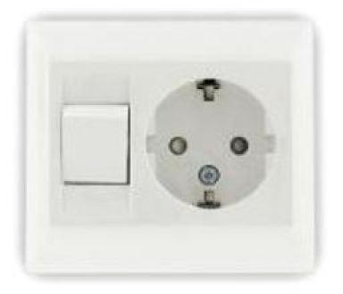 Stopcontact, wandcontactdoos met verlichting schakelaar / knop