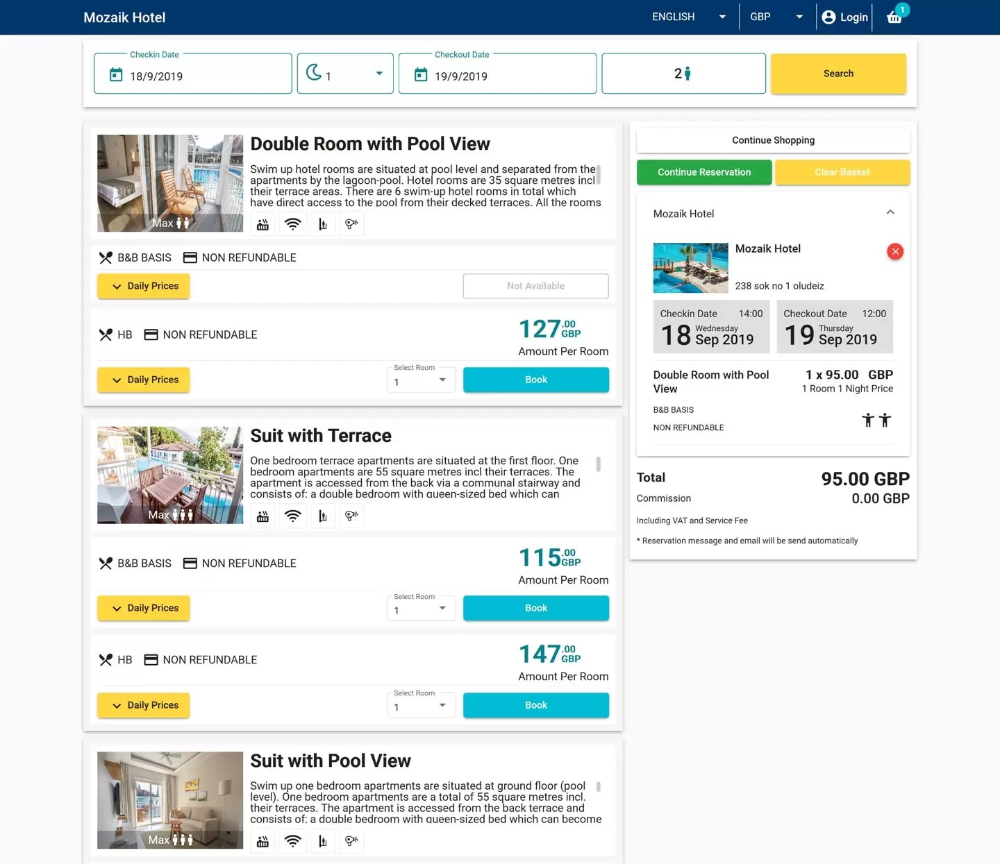 Hotel online booking system, booking engine