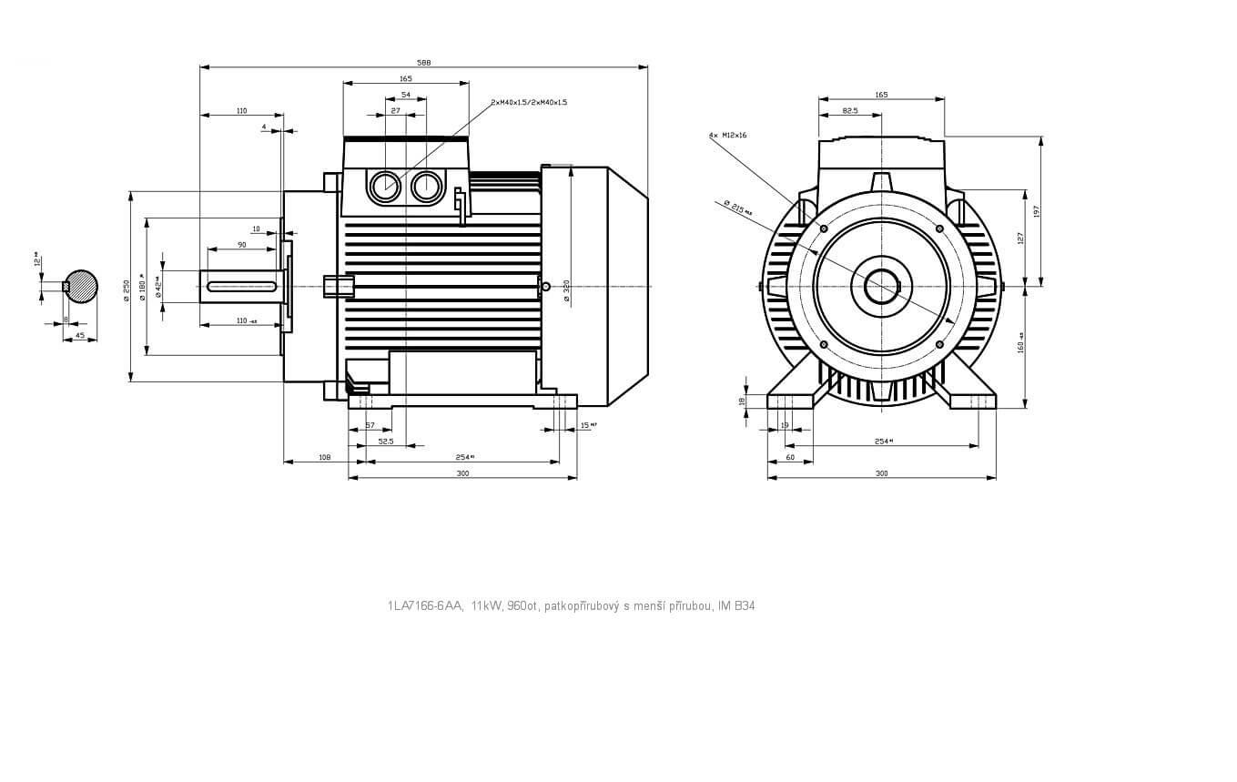 Elektromotor Siemens 1la 6aa 11kw 960ot