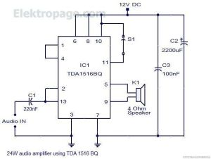 24 Watt Audio Amplifier With TDA1516BQ pinout and connection diagram  Schematic Circuits