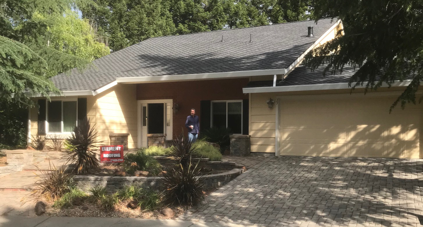 Newly installed roof on a home in pleasanton