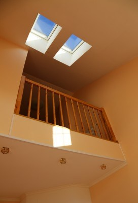 image of a newly installed skylight inside a home