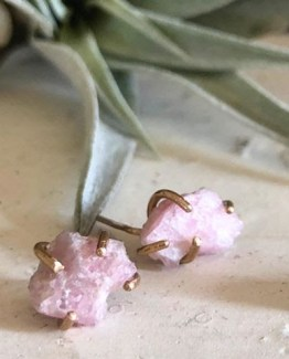 raw gemstone pink tourmaline mineral earrings